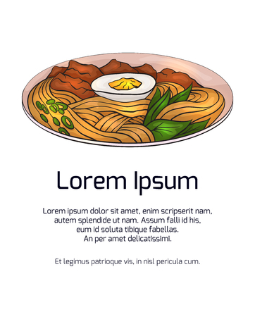 Vertical banner with color ramen and place for the text on white background. Vector template for menus, cards, recipes and your design. Ilustração