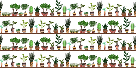Seamless texture with cartoon home flowers in pots with decorations on shelves on white background. Vector pattern for frames, cards, backgrounds and your creativity