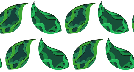 Seamless pattern of 3d tree leaf cut out from paper on green background. Vector texture for wrapper, wallpaper, textile and your creativity.