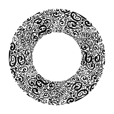 Black and white round frame with vintage doodle pattern. Vector tracery template for invitation, card and your creativity. Ilustração