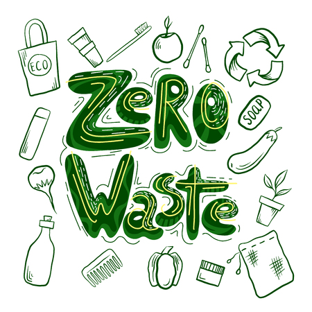 Handwritten green lettering Zero waste with eco friendly objects. Ecological illustration. The object is separate from the background. Vector element for your design Ilustração