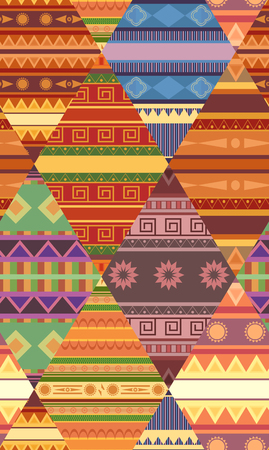 Seamless tribal pattern with native patterns. Patchwork blanket. Vector texture for wallpapers, fabrics, wrapping paper and your creativity. Ilustração