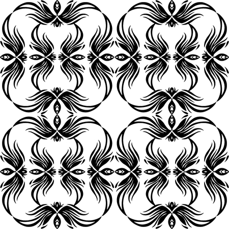 Seamless black and white vintage texture with tracery pattern. Vector pattern for fabrics, wallpapers, backgrounds and your creativity