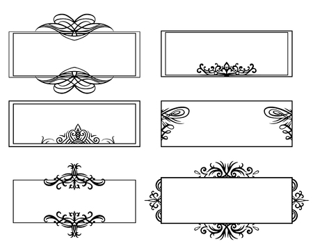 Set of calligraphic black and white frames. The object is separate from the background. Vector element for banners, cards, invitations and your design. Ilustração