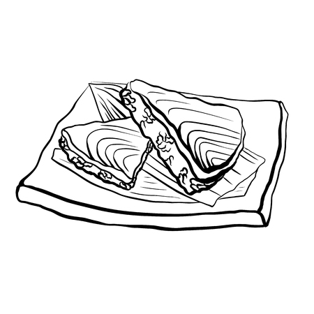 Contour illustration of a Japanese food with rice and salmon on plate. Vector black and white illustration for menu, colors, recipes and your creativity