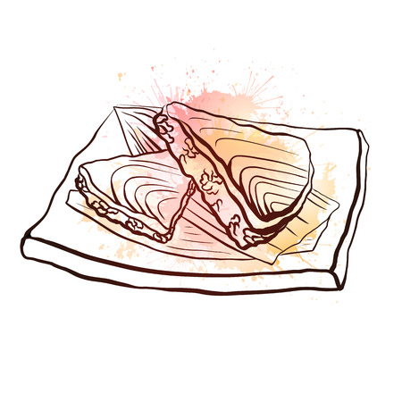 Contour illustration of a Japanese food with rice and salmon on plate with pink watercolor splashes. Vector illustration for menu, colors, recipes and your creativity Stock Illustratie