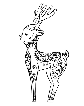 Cute cartoon deer with boho pattern. Linear illustration. Vector doodle element for postcards, coloring pages and your creativity Stock Illustratie