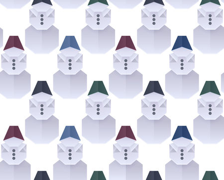 Seamless texture with 3D paper origami snowman in a row. Vector background for wrapping paper, backgrounds and your creativity