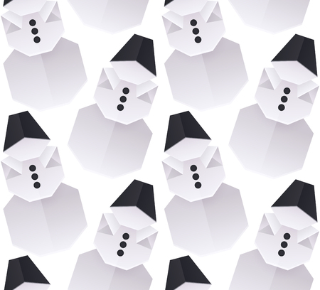 Seamless texture with 3D paper origami snowman. Vector background for wrapping paper, backgrounds and your creativity Stock Illustratie