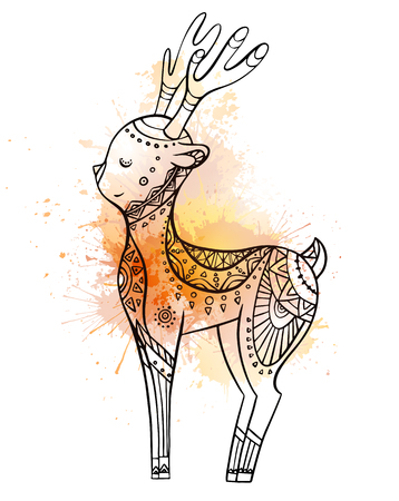 Cute cartoon deer with boho pattern with watercolor splushes. Linear illustration. Vector doodle element for postcards, coloring pages and your creativity