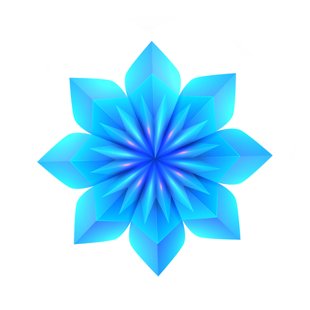 3d illustration of a blue origami snowflake. The object is separate from the background. Vector element for cards, cards and your design.