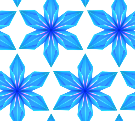 Seamless pattern with 3d blue origami snowflakes in row on white background. Vector texture for gift wrapping, wallpaper and your creativity Stock Illustratie