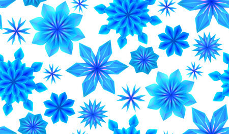 Seamless pattern with 3d blue origami snowflakes on a white background. Vector texture for gift wrapping, wallpaper and your creativity