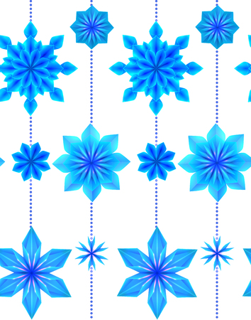 Seamless pattern with 3d hanging blue origami snowflakes on white background. Vector texture for gift wrapping, wallpaper and your creativity Stock Illustratie