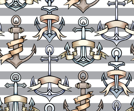 Seamless texture with vintage multicolored cartoon anchors with paper ribbon in row with striped background. Hand drawn illustration. Vector pattern for wallpaper, fabrics, menus and your design.