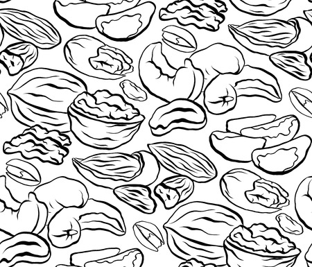 Seamless black and white pattern with contour pattern of different types of nuts. Vector texture for wallpapers, backgrounds, menus and your creativity