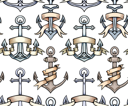 Seamless texture with vintage multicolored cartoon anchors with paper ribbon. Hand drawn illustration. Vector pattern for wallpaper, fabrics, menus and your design. Ilustrace