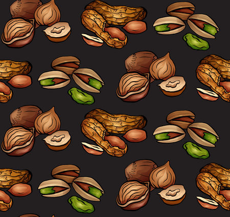 Seamless pattern with colored cartoon nuts on dark background. Peanuts, hazelnut, pistachios. Vector texture for wallpaper, fabrics, menus and your design.
