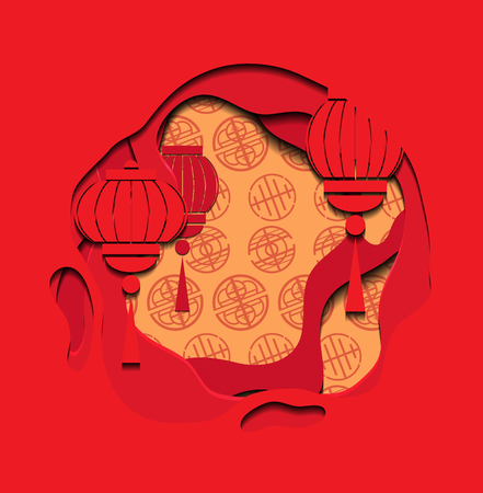 Chinese red greeting card with 3d chinese lantern and background cut out of paper. Vector illustration for card, invitation and your design