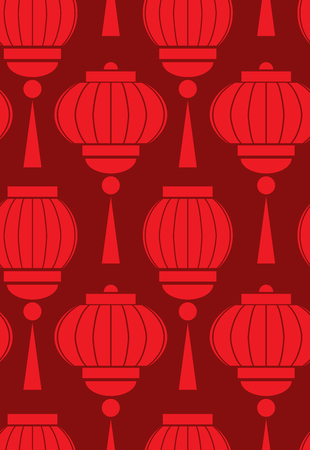 Seamless pattern with simple chinese red lanterns on burgundy background. Vector pattern for wrapping paper, backgrounds, wallpapers and your creativity Stock Illustratie