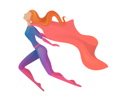 Illustration of a flying super woman in costume with cloak. Elegant textural stylization of the girl. Vector element for postcards, articles and your design.