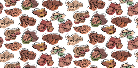 Seamless pattern with contour drawings of various types of nuts with colored spots on white background.  Vector texture for wallpaper, fabrics, menus and your design.