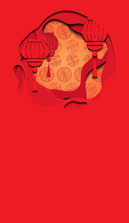 Vertical banner with Chinese red greeting card with 3d chinese lantern and background cut out of paper. Vector template for presentations, banners, flyers and your design.