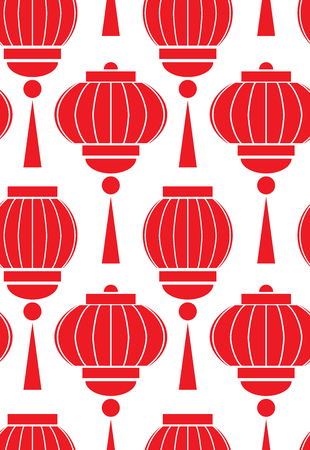 Seamless pattern with simple chinese red lanterns on white background. Vector pattern for wrapping paper, backgrounds, wallpapers and your creativity
