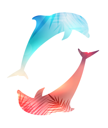 Illustration of silhouette of couple jumping dolphins with a blurred sunset background and palm tree leaves. The object is separate from the background. Vector summer element for your design