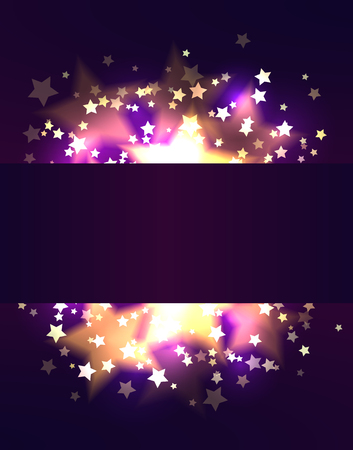 Frame template with luxurious gold stars and bokeh on violet background. Vector festive pattern for greeting card, banner and your creativity