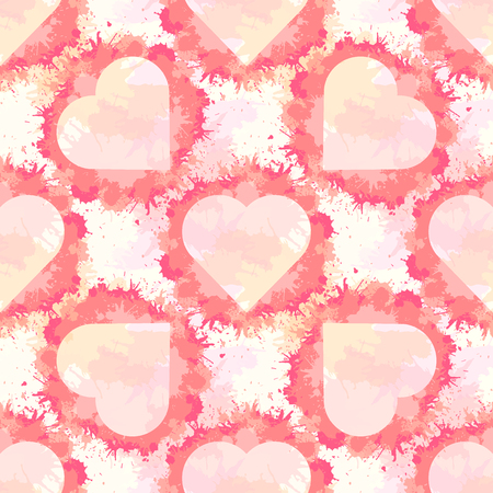 Seamless pattern with hearts and pink watercolor splashes on pink background. Vector texture for wallpaper, wrapping and your creativity. 向量圖像