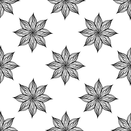 Seamless pattern with black wavy flowers on white background. Vector texture for fabrics, wallpapers and your creativity.