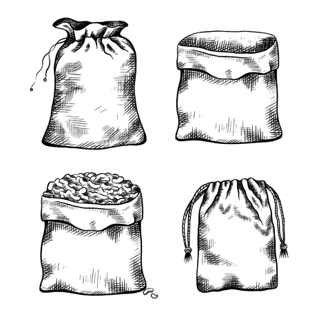 Set of black and white illustrations of hand drawn canvas bags. Objects separate from the background. Vector line art for menus, recipes, articles and your design.