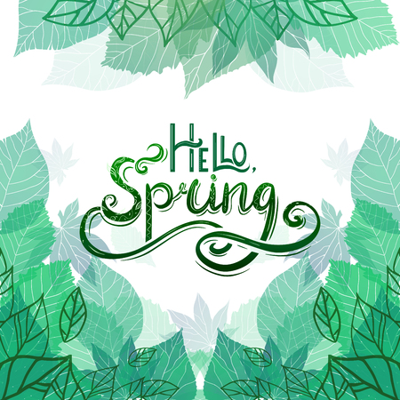 Spring vector card with Handwritten Lettering Hello, Spring with decoration and doodle, green leaves for postcard, flyers, brochures and your business