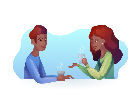 Vector illustration of african women and men with a cup of coffee in modern style. Time together. Dialogue. Vector art for your creativity