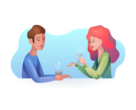 Vector illustration of women and men with a cup of coffee in modern style. Time together. Dialogue. Vector art for your creativity Ilustrace