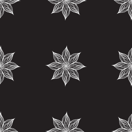 Seamless pattern with white wavy flowers on black background. Vector texture for fabrics, wallpapers and your creativity.