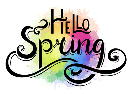 Handwritten Lettering Hello, Spring with rainbow watercolor splashes. The object is separate from the background. Vector element for cards, t-shirt printing and your design Stockfoto - 124976494