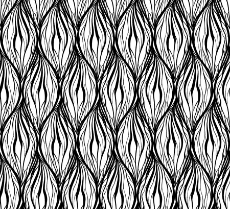 Black white texture with wavy hair lines. Vertical braids and chains. Vector pattern for fabrics wallpaper and your creativity