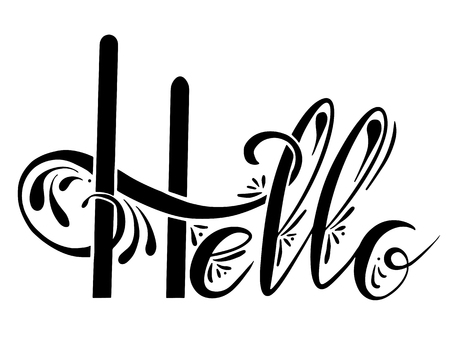Handwritten Lettering Hello with decorations. The object is separate from the background. Vector element for cards, t-shirt printing and your design Stockfoto - 124907187