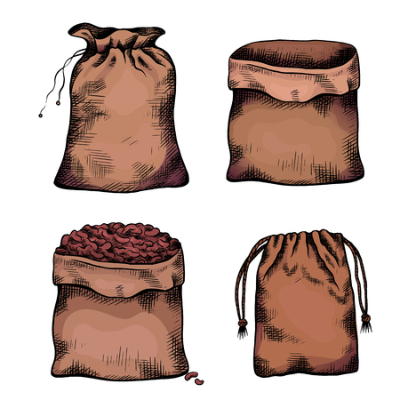 Set of coloring illustrations of hand drawn canvas bags. Objects separate from the background. Zero waste objects. Vector line art for menus, recipes, articles and your design.