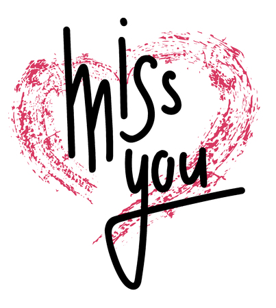 Miss you hand drawn lettering with pink grunge heart. Marker calligraphy. Vector element for greeting card, print and your creativity Stock Illustratie