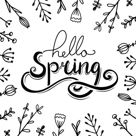 Hello, Spring handwritten Lettering with doodle flowers. Squarel greeting card. Vector element for cards, t-shirt printing and your design