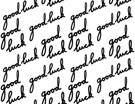 Seamless texture with handwritten inscription Good luck. Script. Vector pattern for wallpaper, fabrics and your design. Stockfoto - 124755370