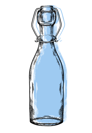 Illustration of glass bottle with hatching and blue coloring spot. Zero waste object. The object is separate from the background. Vector engraving element for menus, articles, cards and your creativite