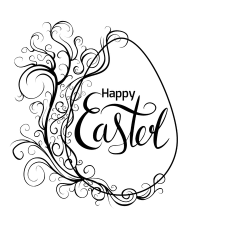 Black white greeting card with egg, scroll vintage pattern and handwriting lettering Happy Easter. Vector card for greetings, invitations, banners and for your creativity. Ilustrace