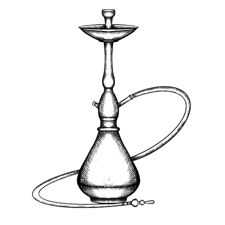 Black and white illustration of hookah with hatching. Vector engraving element for menu, cards and your design. Illustration