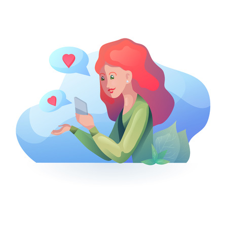 Red haired girl talking on the phone in  modern style. Acquaintance by phone. Relationships at a distance. Vector element for articles, dating sites and your design.