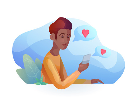 African man talking on the phone in  modern style. Acquaintance by phone. Relationships at a distance. Vector element for articles, dating sites and your design. Illustration