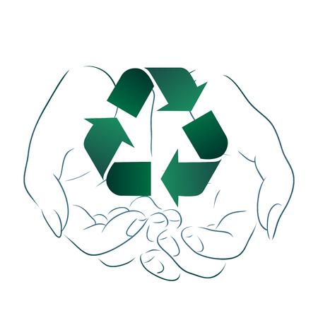 Disegno di assieme delle mani che tengono un segno di riciclaggio. Riciclaggio e Zero Rifiuti. Elemento vettoriale ecologico per loghi, icone, banner e il tuo design